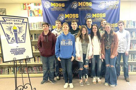 TEN SOPHOMORE STUDENTS WERE INDUCTED INTO THE NATIONAL HONOR SOCIETY AT MOSS HIGH SCHOOL RECENTLY