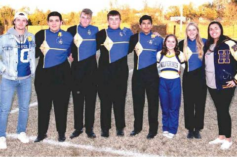 PHOTOS BY DANE SMART, TRIBUNE SPORTS PHOTOGRAPHER 2019 BAND SENIORS — Cody Garlett, Hunter Sharp, Colton Collins, Trenton Green, Samuel Gonzalez, Macy Davenport, Madison Creekmore and Breanna Robinson.