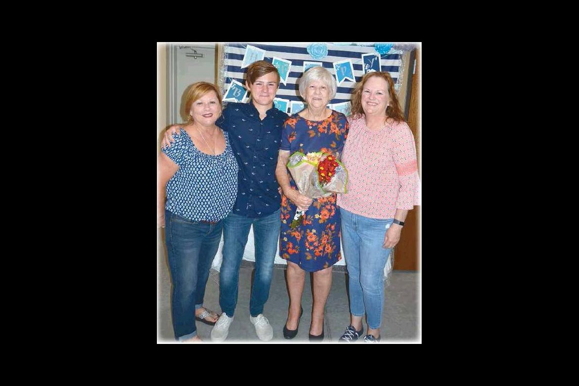 MARIE GRIMES WAS RECENTLY HONORED WITH A SURPRISE BIRTHDAY PARTY ON HER 80TH BIRTHDAY