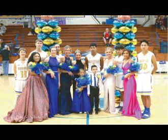 QUEEN MCKENNA SMITH AND KING TAVIAN BUCK ARE PICTURED WITH THEIR ROYAL COURT FOLLOWING THE HOMECOMING CEREMONY ON SATURDAY. (front row - girls) Isabella Adam, Leigha Phillips, Faith Voigt, McKenna Smith, Carley Tatum, Liberty Jackson. (back row -boys) Bra